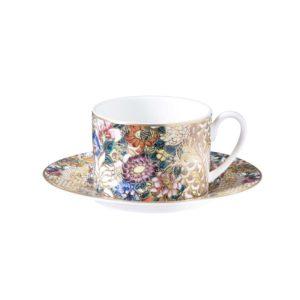 Golden flowers teacup & saucer set