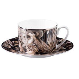 Tropical jungle black teacup & saucer